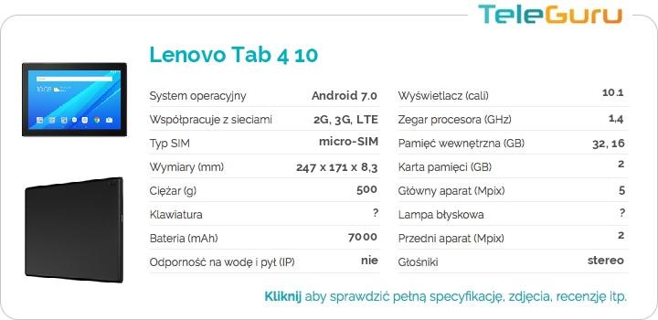 specyfikacja Lenovo Tab 4 10