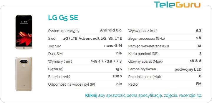 specyfikacja LG G5 SE