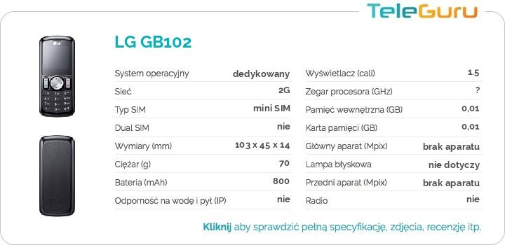 specyfikacja LG GB102