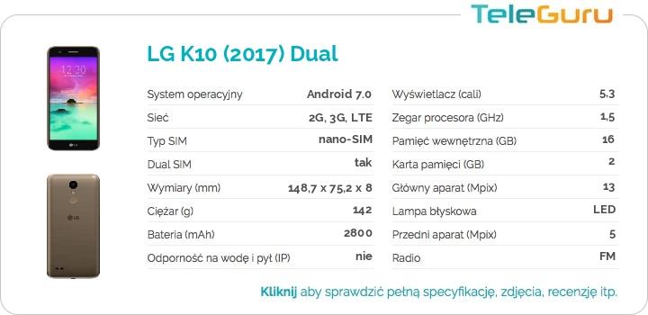 specyfikacja LG K10 (2017) Dual
