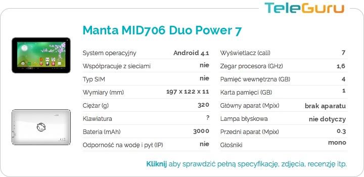 specyfikacja Manta MID706 Duo Power 7