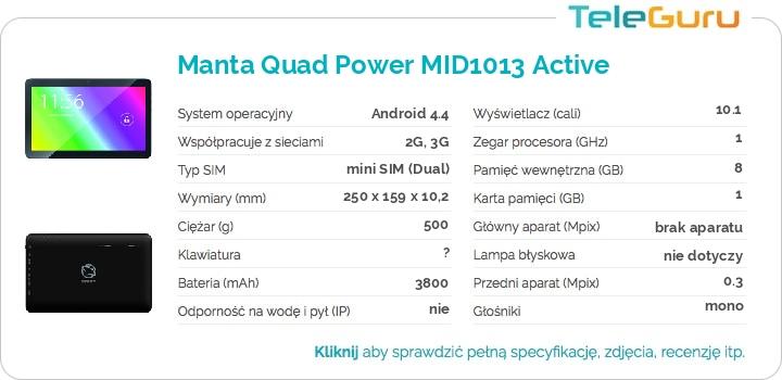 specyfikacja Manta Quad Power MID1013 Active