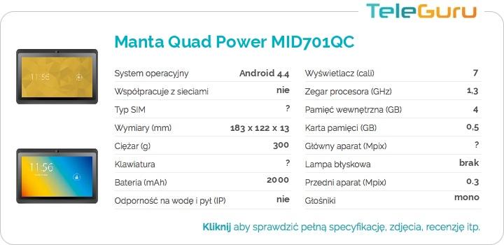 specyfikacja Manta Quad Power MID701QC