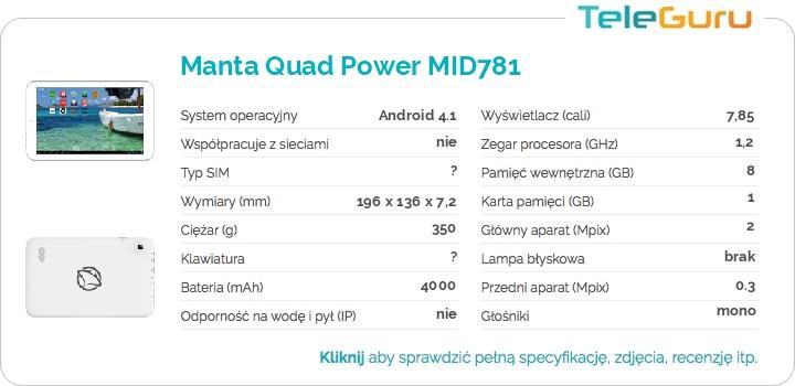 specyfikacja Manta Quad Power MID781
