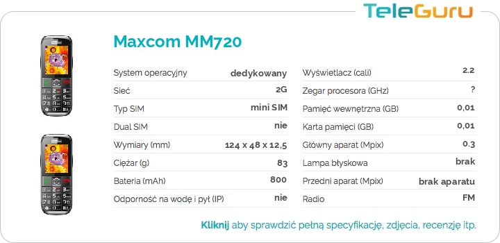 specyfikacja Maxcom MM720