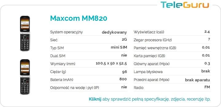 specyfikacja Maxcom MM820