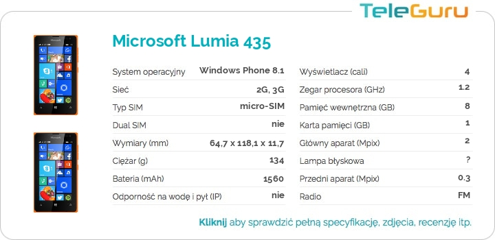 specyfikacja Microsoft Lumia 435