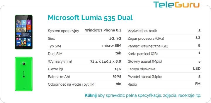 specyfikacja Microsoft Lumia 535 Dual
