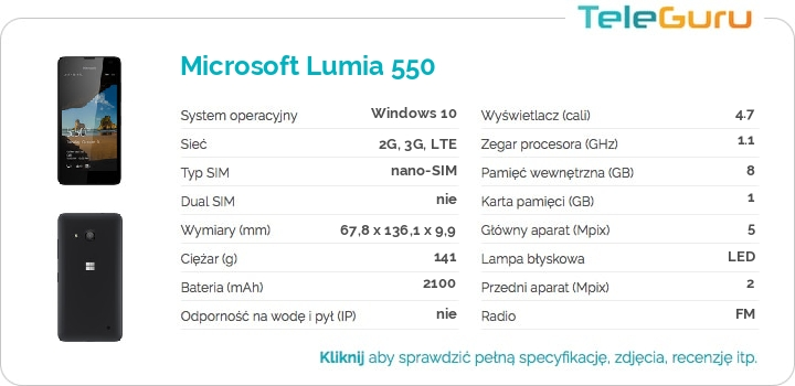 specyfikacja Microsoft Lumia 550