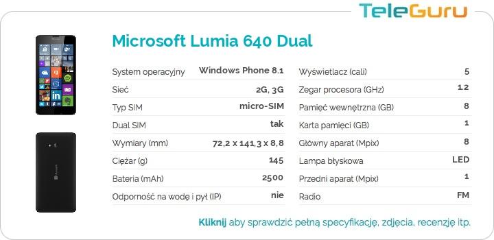 specyfikacja Microsoft Lumia 640 Dual