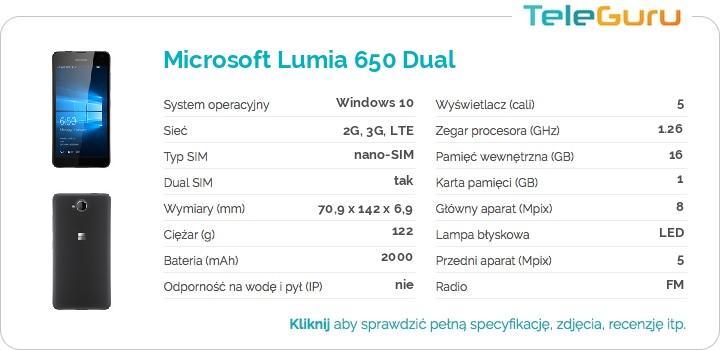 specyfikacja Microsoft Lumia 650 Dual