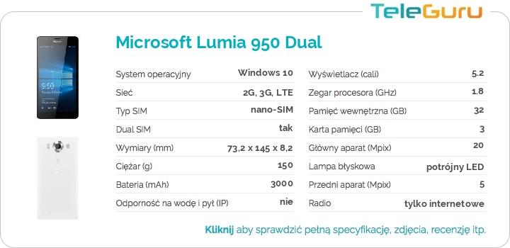 specyfikacja Microsoft Lumia 950 Dual