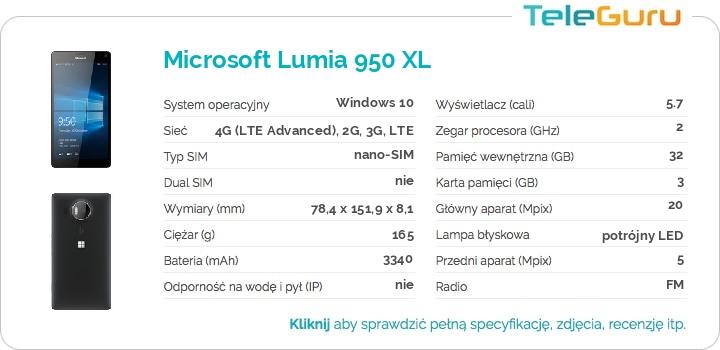 specyfikacja Microsoft Lumia 950 XL