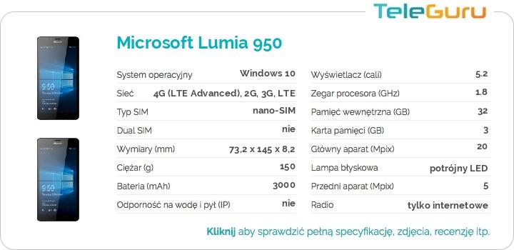 specyfikacja Microsoft Lumia 950