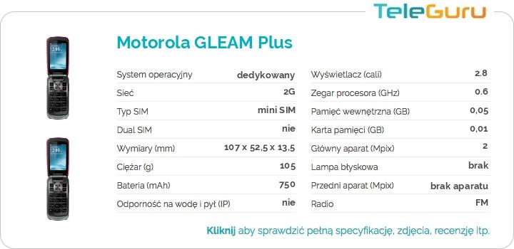 specyfikacja Motorola GLEAM Plus