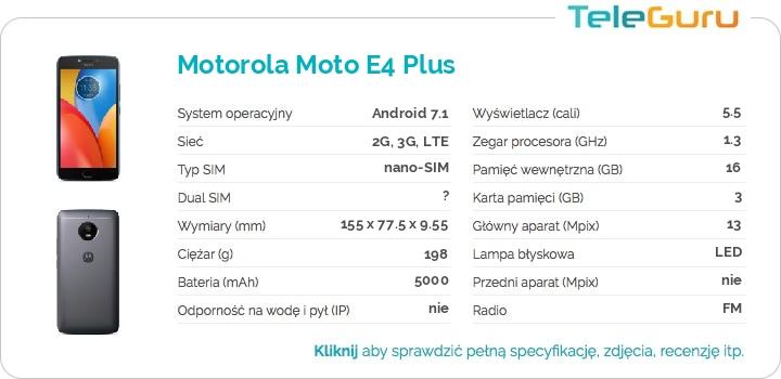 specyfikacja Motorola Moto E4 Plus