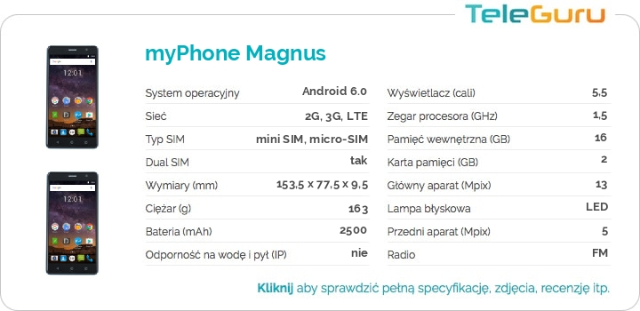 specyfikacja myPhone Magnus