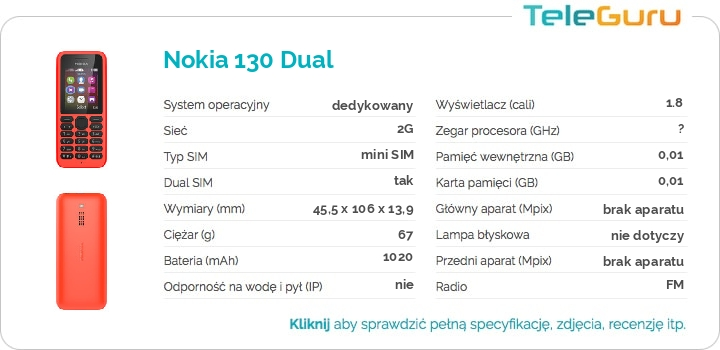 specyfikacja Nokia 130 Dual