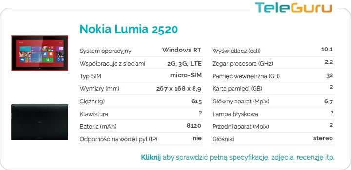 specyfikacja Nokia Lumia 2520
