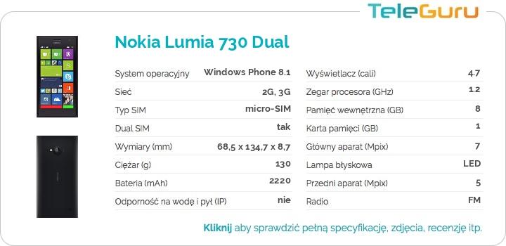 specyfikacja Nokia Lumia 730 Dual