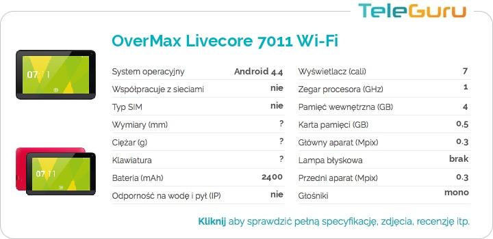 specyfikacja OverMax Livecore 7011 Wi-Fi