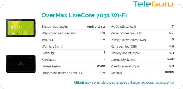 specyfikacja OverMax LiveCore 7031 Wi-Fi