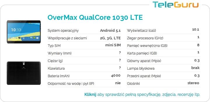 specyfikacja OverMax QualCore 1030 LTE
