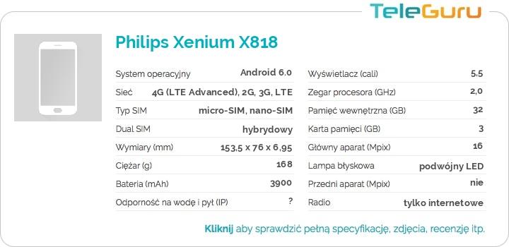 specyfikacja Philips Xenium X818