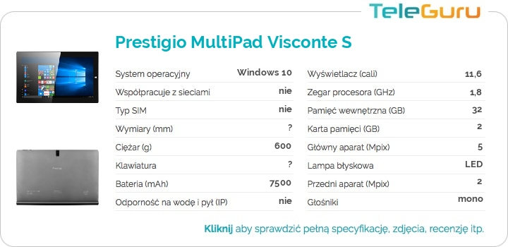 specyfikacja Prestigio MultiPad Visconte S