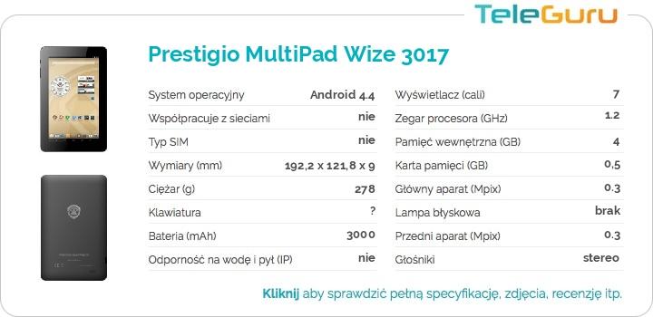 specyfikacja Prestigio MultiPad Wize 3017