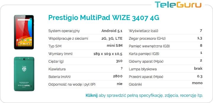 specyfikacja Prestigio MultiPad WIZE 3407 4G