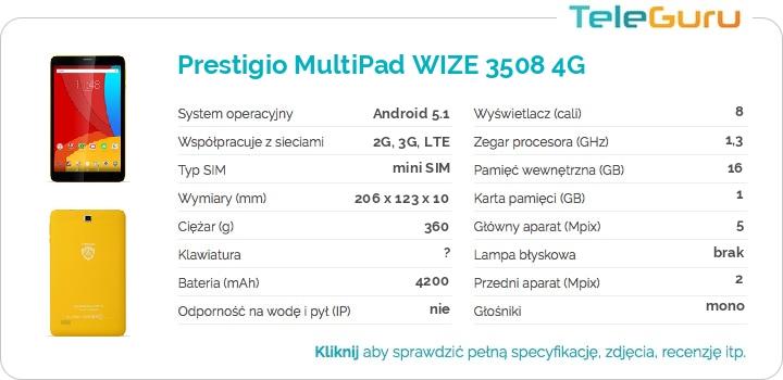 specyfikacja Prestigio MultiPad WIZE 3508 4G