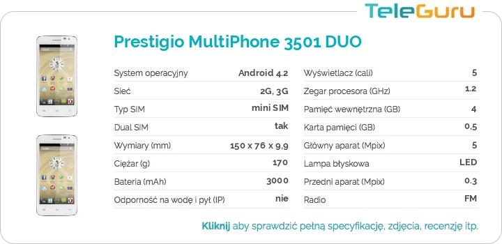 specyfikacja Prestigio MultiPhone 3501 DUO