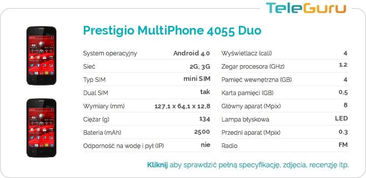 specyfikacja Prestigio MultiPhone 4055 Duo