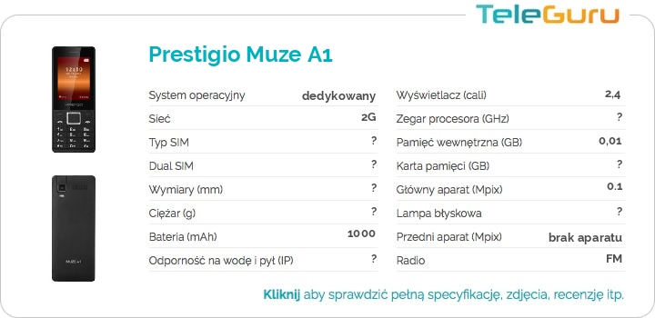 specyfikacja Prestigio Muze A1
