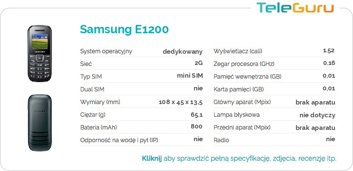 specyfikacja Samsung E1200