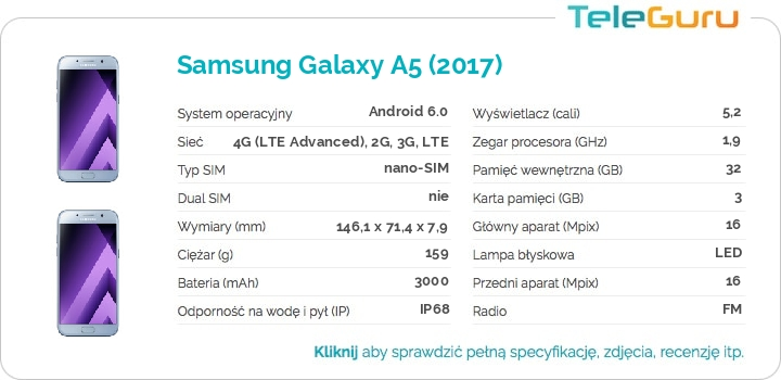 specyfikacja Samsung Galaxy A5 (2017)