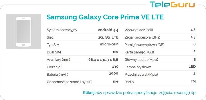 specyfikacja Samsung Galaxy Core Prime VE LTE
