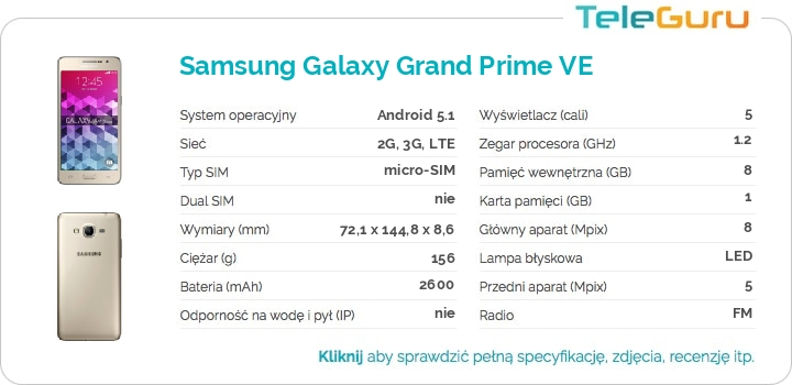 specyfikacja Samsung Galaxy Grand Prime VE