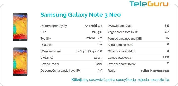 specyfikacja Samsung Galaxy Note 3 Neo