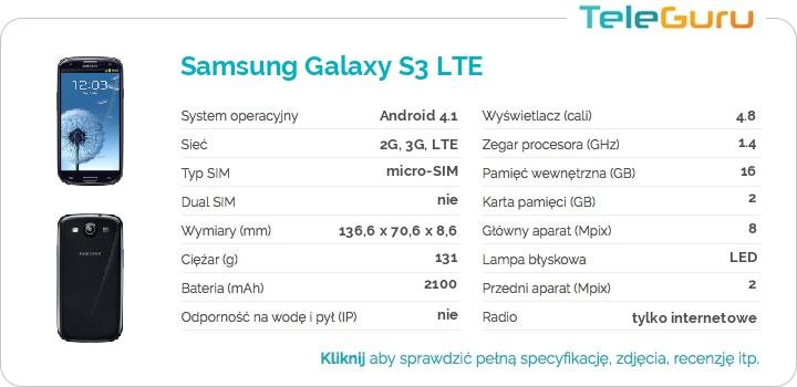 specyfikacja Samsung Galaxy S3 LTE