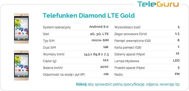 specyfikacja Telefunken Diamond LTE Gold