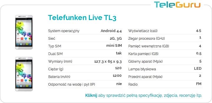 specyfikacja Telefunken Live TL3