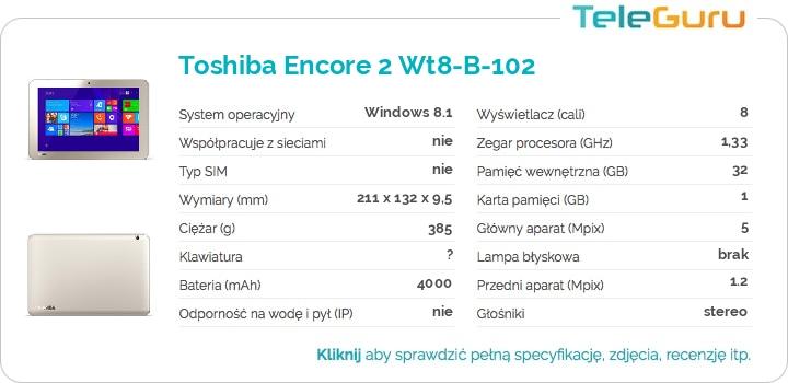specyfikacja Toshiba Encore 2 Wt8-B-102