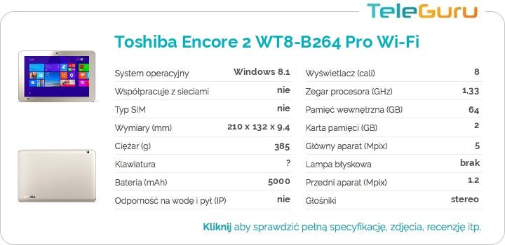 specyfikacja Toshiba Encore 2 WT8-B264 Pro Wi-Fi