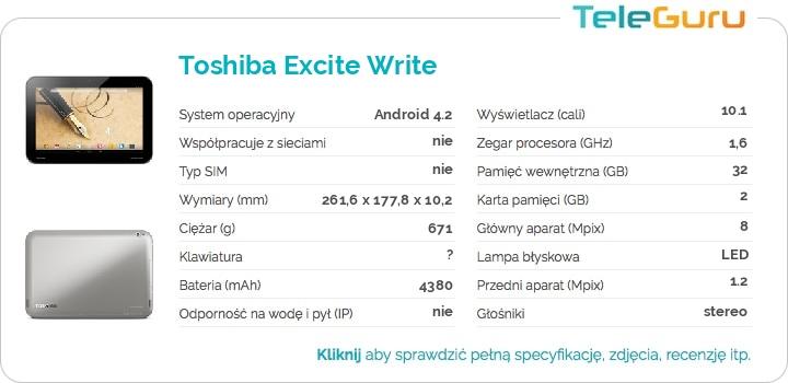 specyfikacja Toshiba Excite Write