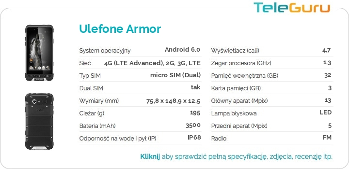 specyfikacja Ulefone Armor