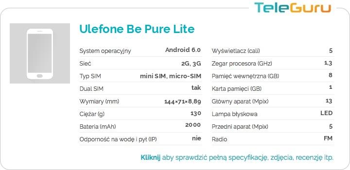 specyfikacja Ulefone Be Pure Lite