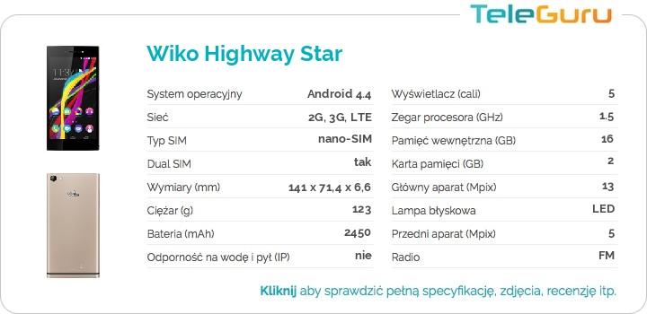 specyfikacja Wiko Highway Star