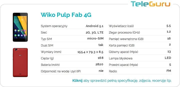 specyfikacja Wiko Pulp Fab 4G